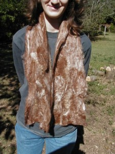 Alpaca and Angora Rabbit Felted Scarf